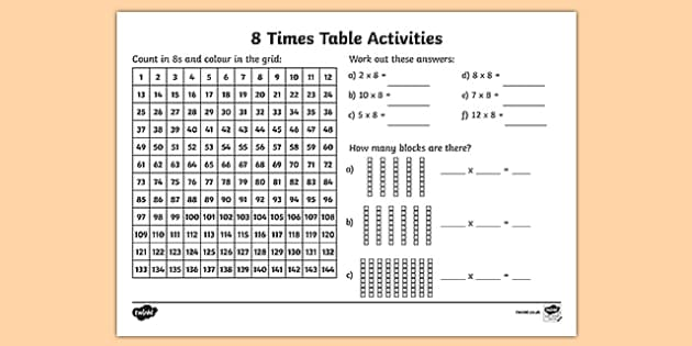 8 times table worksheet activity sheet eight times table. Black Bedroom Furniture Sets. Home Design Ideas