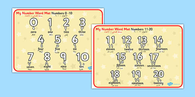 Numbers and Words 0-20 Word Mat Arabic Translation - arabic, number
