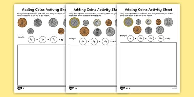 adding coins worksheet teaching resource twinkl. Black Bedroom Furniture Sets. Home Design Ideas