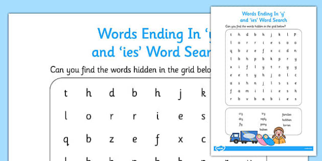 7 letter words ending with o words ending in y and ies word search wordsearch y ies 15410