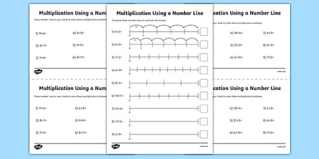 multiplication on a number line worksheet worksheet pack year 2 ks1. Black Bedroom Furniture Sets. Home Design Ideas