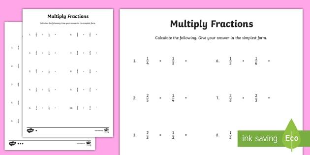KS2 Multiplying Fractions Worksheets - Maths Resource