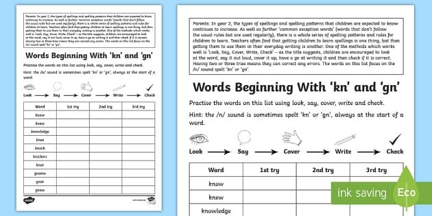 year 2 spelling practice 39 kn 39 and 39 gn 39 homework worksheet worksheet ks1. Black Bedroom Furniture Sets. Home Design Ideas