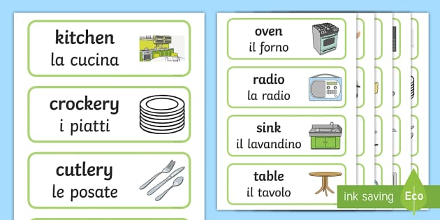 Kitchen Word Cards - Italian/English - Kitchen Word Cards ...
