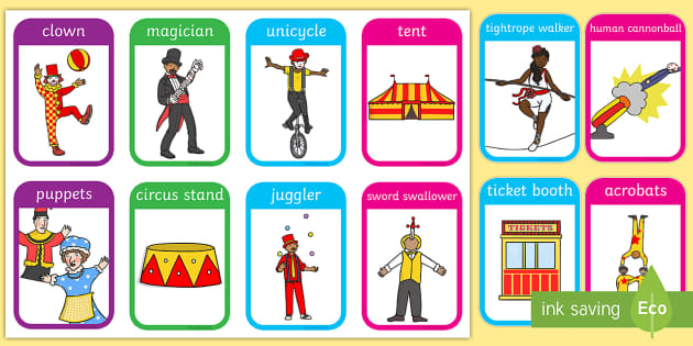 Circus Flashcards - visual aid, word cards, keywords ...