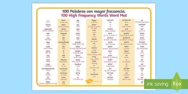 100 High Frequency Words Word Mat English Spanish