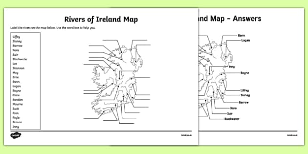 Map Of Rivers In Ireland.Rivers Of Ireland Map Worksheet