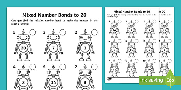 FREE! - Mixed Number Bonds To 20 On Robots Worksheet