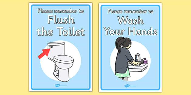 FREE! - Signs For the Toilet - toilet sign, wash your ...