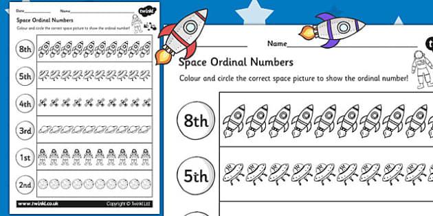 Space Themed Ordinal Numbers Worksheet Space Numbers Order