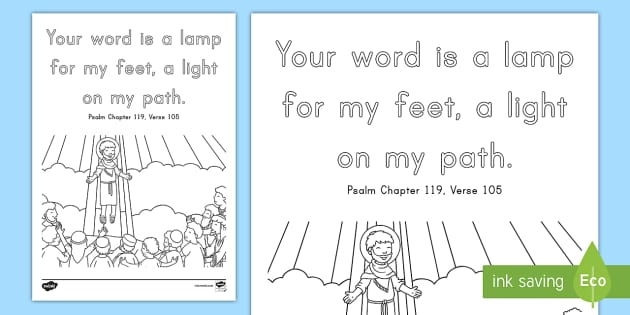 Psalm 119 105 Coloring Page Bible Memory Verse