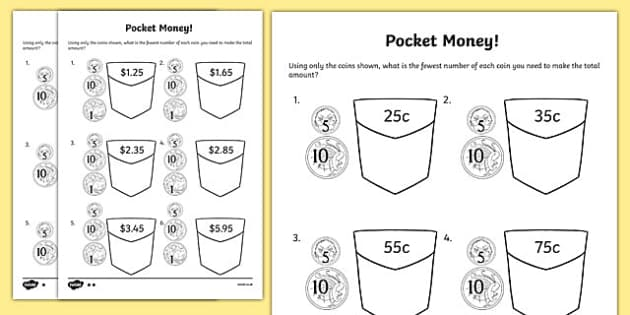 pocket money worksheet activity sheet year 2 maths mastery. Black Bedroom Furniture Sets. Home Design Ideas