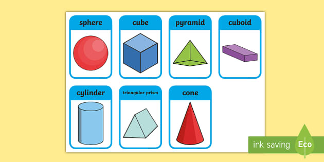 3D Solid Shape Name Cards - 3D Shapes with Names