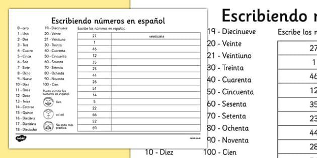 writing spanish numbers worksheet spanish languages eal. Black Bedroom Furniture Sets. Home Design Ideas