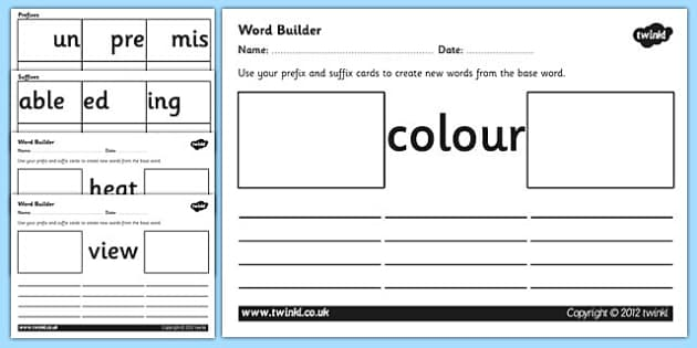 Prefix And Suffix Word Builder Cards And Worksheets