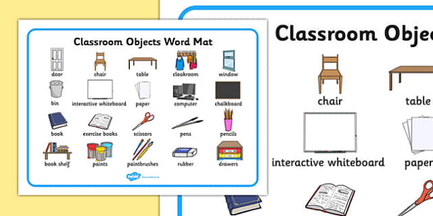 Classroom Objects Word Mat - classroom objects, classroom