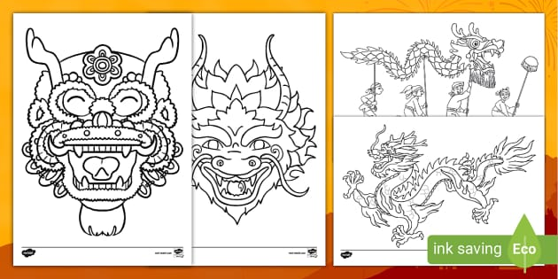 Chinese Dragon Colouring Pictures - Chinese New Year