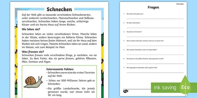 Schnecken Leseverstehen Arbeitsblätter - Schnecke, Lesen