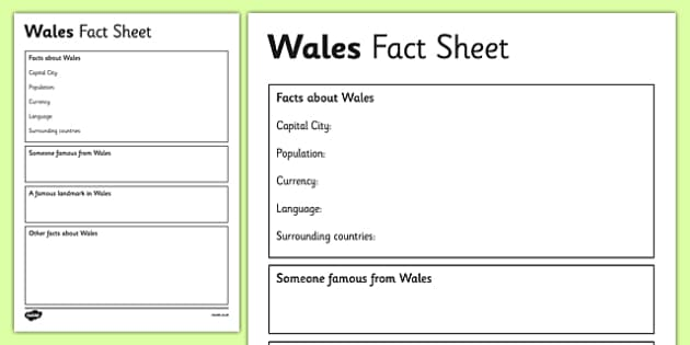 wales factsheet writing template wales wales fact sheet. Black Bedroom Furniture Sets. Home Design Ideas