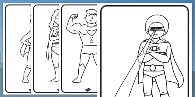 FREE Superhero Colouring Pages