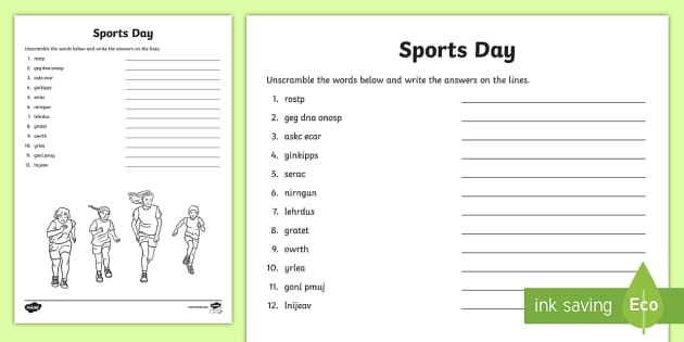 sports day word unscramble summer pe reading spelling. Black Bedroom Furniture Sets. Home Design Ideas
