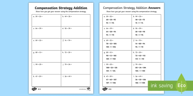 Compensation Strategy Addition Questions Worksheet Teaching