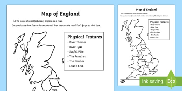 physical features of england worksheet activity sheets. Black Bedroom Furniture Sets. Home Design Ideas