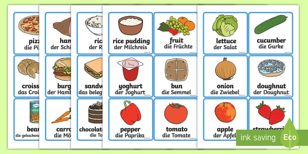Food word and picture cards german food word and picture for Cuisine translate