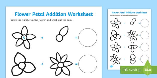 numbers on flowers addition worksheet flower addition flower. Black Bedroom Furniture Sets. Home Design Ideas