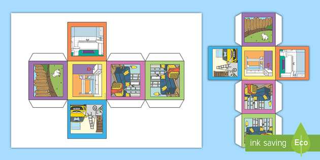 A1 dado las partes de la casa ingl s vocabulario die - Partes de la casa en ingles para ninos ...