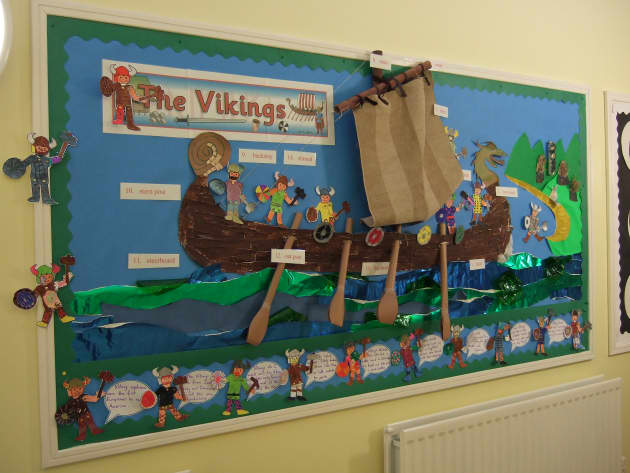The vikings Display, classroom display, class display, history, Vikings, long boat, viking, the vikings, Early Years (EYFS), KS1 & KS2 Primary Resources