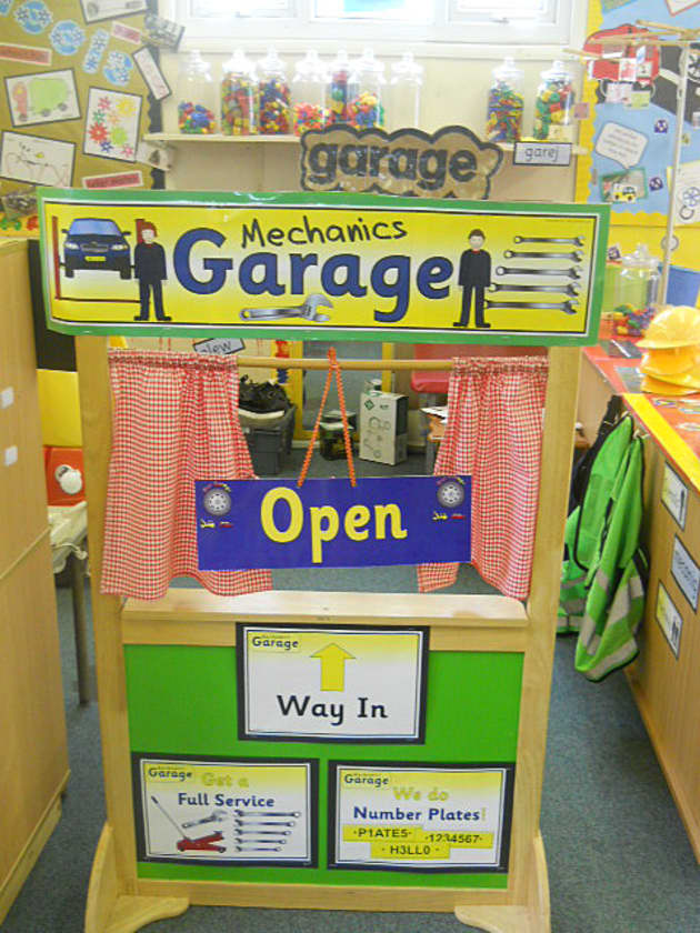 Mechanics Garage Role Play Corner Display, classroom display, class display, Roleplay, role play, role, Early Years (EYFS), KS1 & KS2 Primary Resources