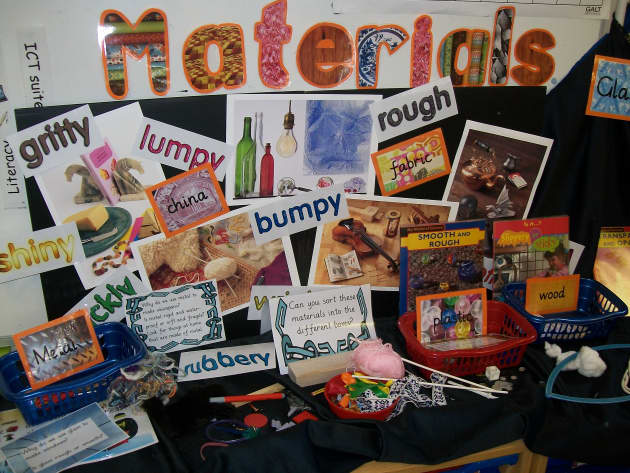 materials display  classroom display  materials  rough  smooth