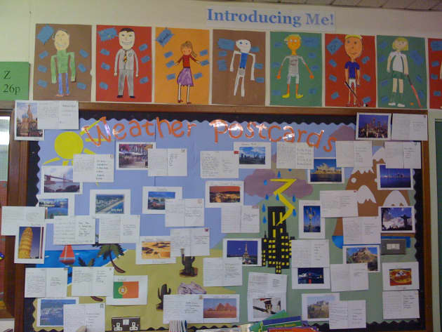 Literacy, Weather Postcards, Sun, Rain, Lightening, Clouds, Display, Weather, Classroom display, Early Years (EYFS), KS1 & KS2 Primary Resources