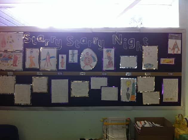 Classroom Display Ideas Nursery ~ Space starry night stars sky display classroom