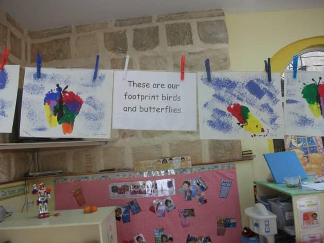 Art & Colour, Footprint birds & butterflies, Foot Painting, Birds, Butterflies, Classroom display, Early Years (EYFS), KS1 & KS2 Primary Teaching Resources