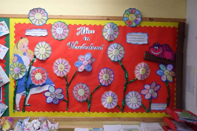 Literacy, Alice in Wonderland, Alice, Story, Story Book, Flowers, Display, Classroom Display, Early Years (EYFS), KS1 & KS2 Primary Teaching Resources
