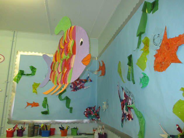 Under the Sea, Fish, Class Painting, Seaweed, Big Fish, Coral, Display, Classroom Display, Early Years (EYFS), KS1 & KS2 Primary Teaching Resources