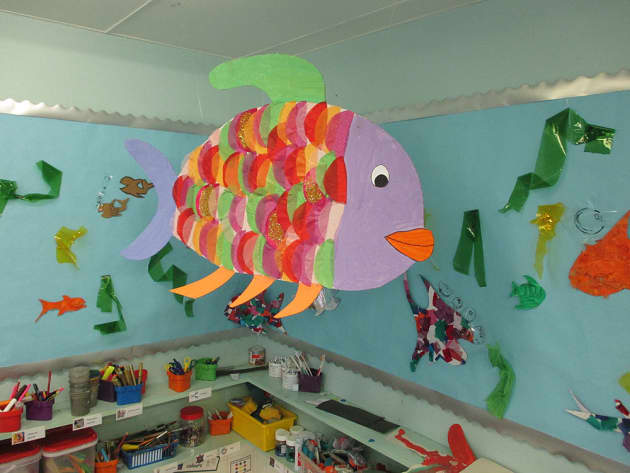 Classroom Display Ideas Under The Sea ~ Under the sea fishes class painting display classroom