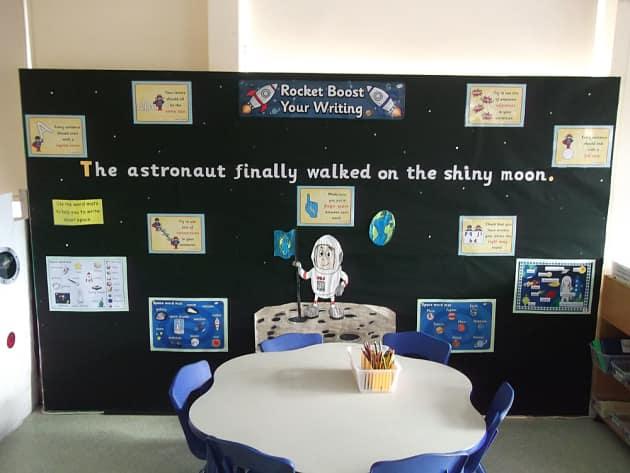 Modern Language Classroom Displays : Space rocket boost your writing display classroom