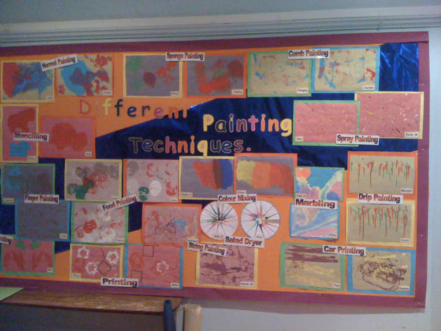 Painting Techniques Art Display, Art and Colour, classroom displays, Art, painting technique, Early Years (EYFS), KS1 & KS2 Primary Teaching Resources
