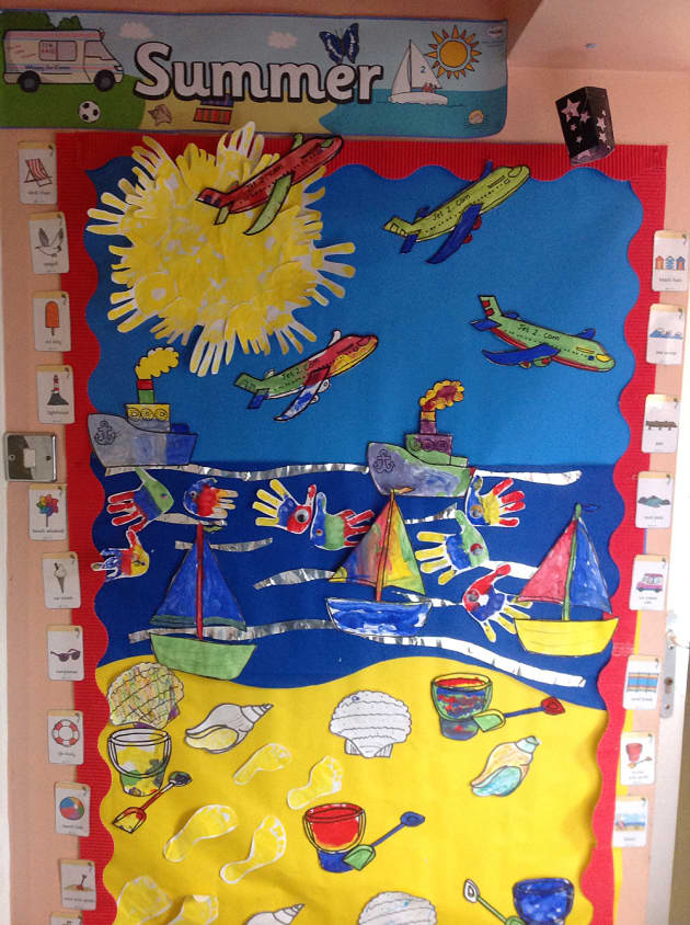 seaside craft ideas for early years weather and the seasons summer sea display classroom 7895