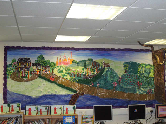 Fairytale Village Display, classroom display, Story, village, collage, countryside, castle, princess, fields,Early Years (EYFS), KS1& KS2 Primary Resources