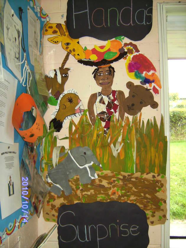 Handas Surprise Display, classroom display, class display, Story, Handas surprise, reading, book, surprise, Early Years (EYFS), KS1 & KS2 Primary Resources