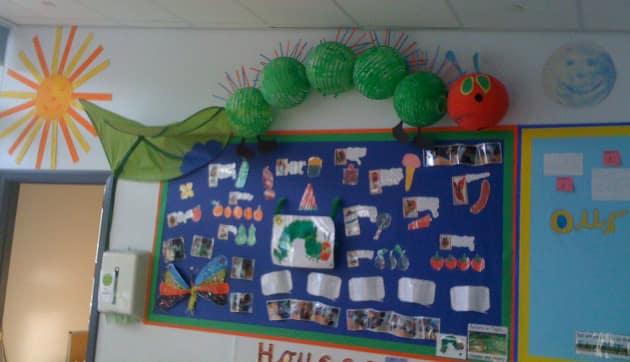 Classroom Christmas Design ~ Hungry caterpillar book display classroom story