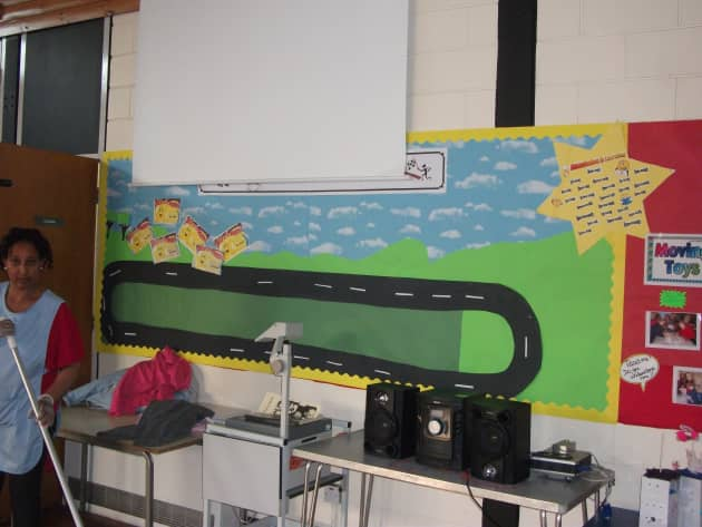 Racing Track Display, classroom display, class display, racing track, cars, goals, achievements, transport, Early Years (EYFS), KS1 & KS2 Primary Resources