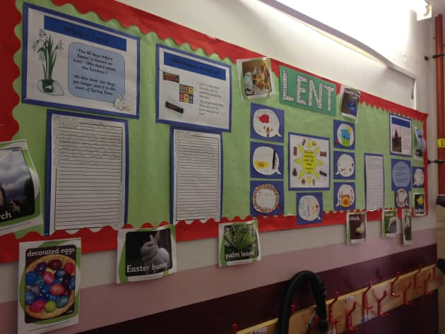 Lent Display classroom Display palm leaves bible