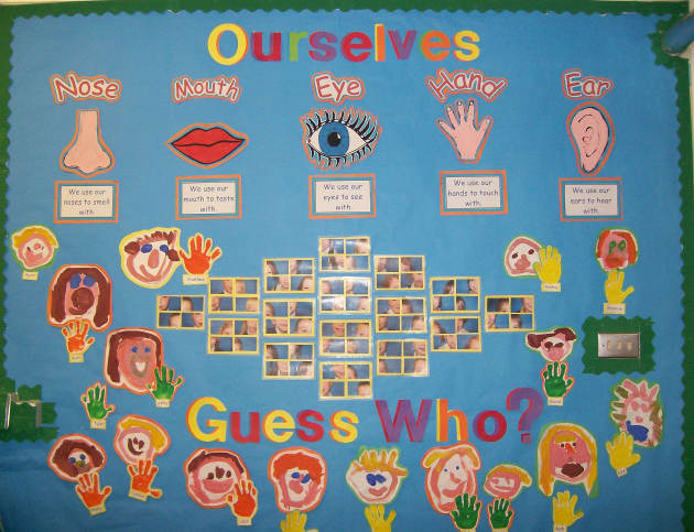 Nursery Classroom Door Decoration ~ Guess who display classroom ourselves bodies