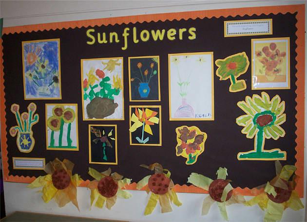 sunflowers monet display classroom display flower. Black Bedroom Furniture Sets. Home Design Ideas