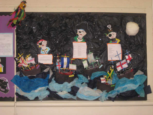 Pirate Ships Display, classroom display, class display, Pirates, pirate, jolly roger, treasure, ship, parrot,Early Years (EYFS),KS1 & KS2 Primary Resources